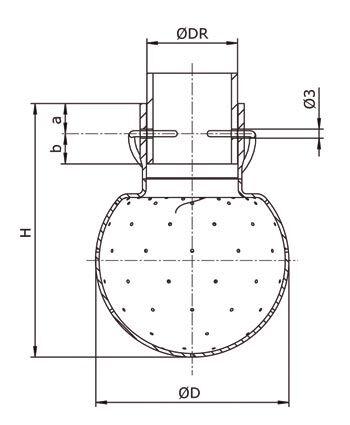 GEA Breconcherry Sprühkugel Splintanschluss Zeichnung Abmessungen